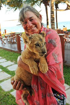 Jackie Stevenson With Lion Cub